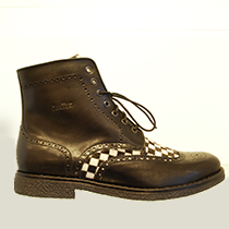 Men's boot leather with checkerboard pattern