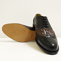 Men's shoe leather black and caiman leather brown